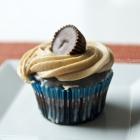 Dark Chocolate Cupcakes w/Reese's Centers, White Choc Ganache & PB Frosting