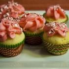 Minty Pink Vanilla Mini Cupcakes